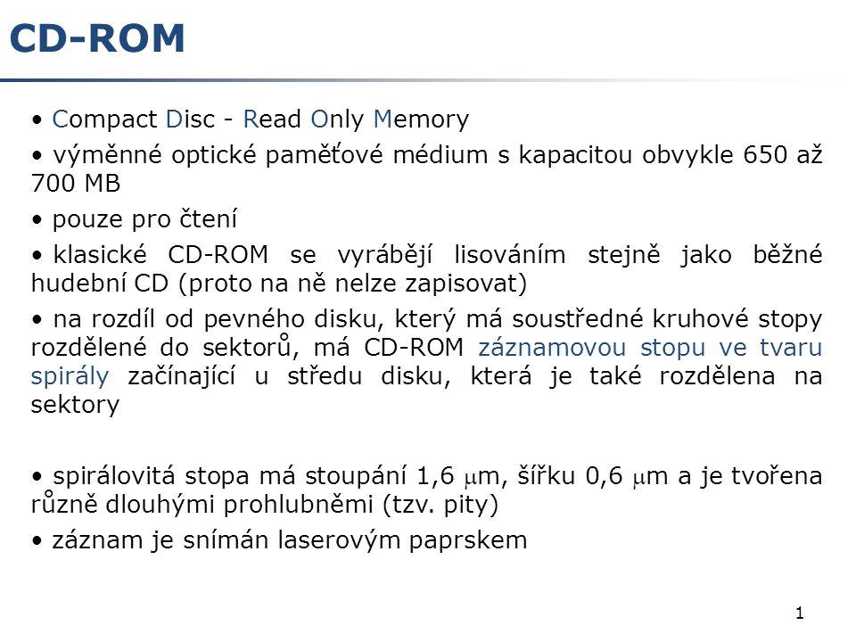 1 CD-ROM Compact Disc - Read Only Memory výměnné optické paměťové médium s kapacitou obvykle 650 až 700 MB pouze pro čtení klasické CD-ROM se vyrábějí lisováním stejně jako běžné hudební CD (proto na ně nelze zapisovat) na rozdíl od pevného disku, který má soustředné kruhové stopy rozdělené do sektorů, má CD-ROM záznamovou stopu ve tvaru spirály začínající u středu disku, která je také rozdělena na sektory spirálovitá stopa má stoupání 1,6 m, šířku 0,6 m a je tvořena různě dlouhými prohlubněmi (tzv.