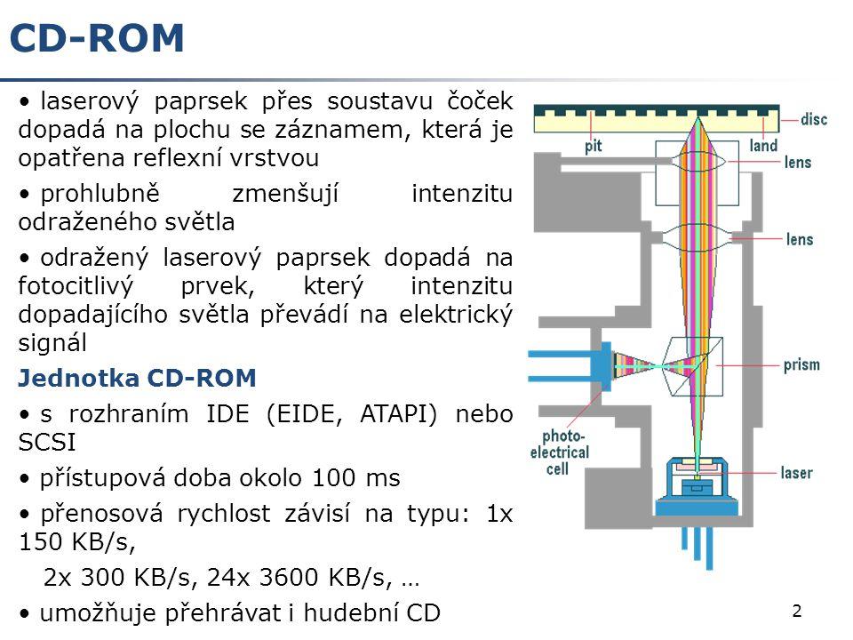2 CD-ROM laserový paprsek přes soustavu čoček dopadá na plochu se záznamem, která je opatřena reflexní vrstvou prohlubně zmenšují intenzitu odraženého světla odražený laserový paprsek dopadá na fotocitlivý prvek, který intenzitu dopadajícího světla převádí na elektrický signál Jednotka CD-ROM s rozhraním IDE (EIDE, ATAPI) nebo SCSI přístupová doba okolo 100 ms přenosová rychlost závisí na typu: 1x 150 KB/s, 2x 300 KB/s, 24x 3600 KB/s, … umožňuje přehrávat i hudební CD