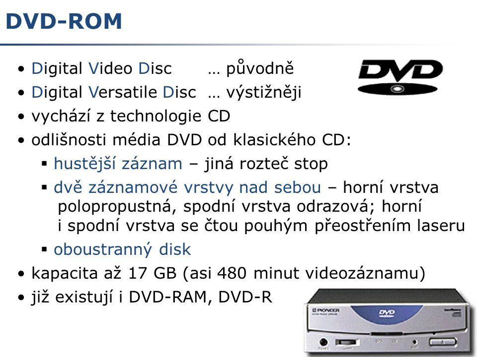 5 DVD-ROM vývoj DVD původně v oblasti videotechniky svět rozdělen celkem na 6 regionů, ČR region 2 každé DVD s filmem určeno pro určitý region, lze přehrávat pouze na přehrávači nastaveném pro tento region DVD-Video obraz asi 3x kvalitnější než u běžných VHS přehrávačů až 8 zvukových stop (tj.