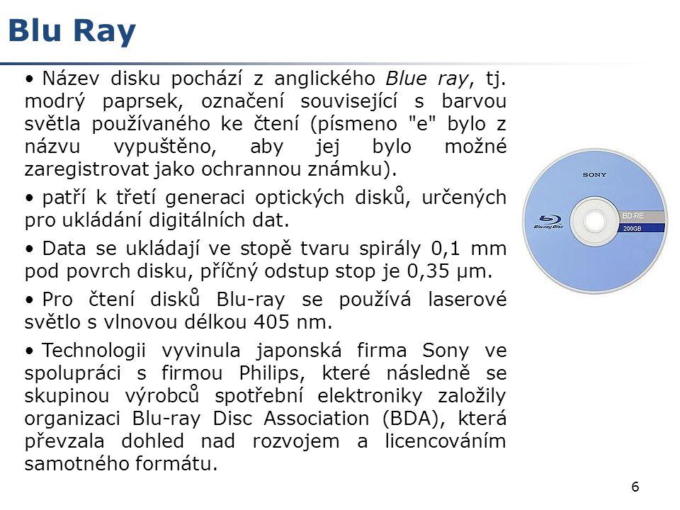7 Struktura CD-DVD-BluRay Srovnání CD ; DVD; Blu Ray Záznamová kapacita na jednu vrstvu 650 MB 4,7 GB Blu Ray 0,35 m Blu Ray Velikost pitu 0,15 m Blu Ray Záznamová kapacita 200 GB