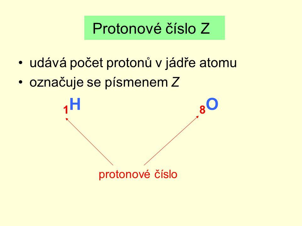 udává počet protonů v jádře atomu označuje se písmenem Z 1 H 8 O Protonové číslo Z protonové číslo