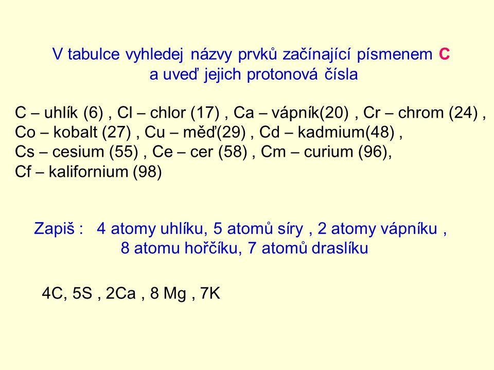 V tabulce vyhledej názvy prvků začínající písmenem C a uveď jejich protonová čísla C – uhlík (6), Cl – chlor (17), Ca – vápník(20), Cr – chrom (24), C