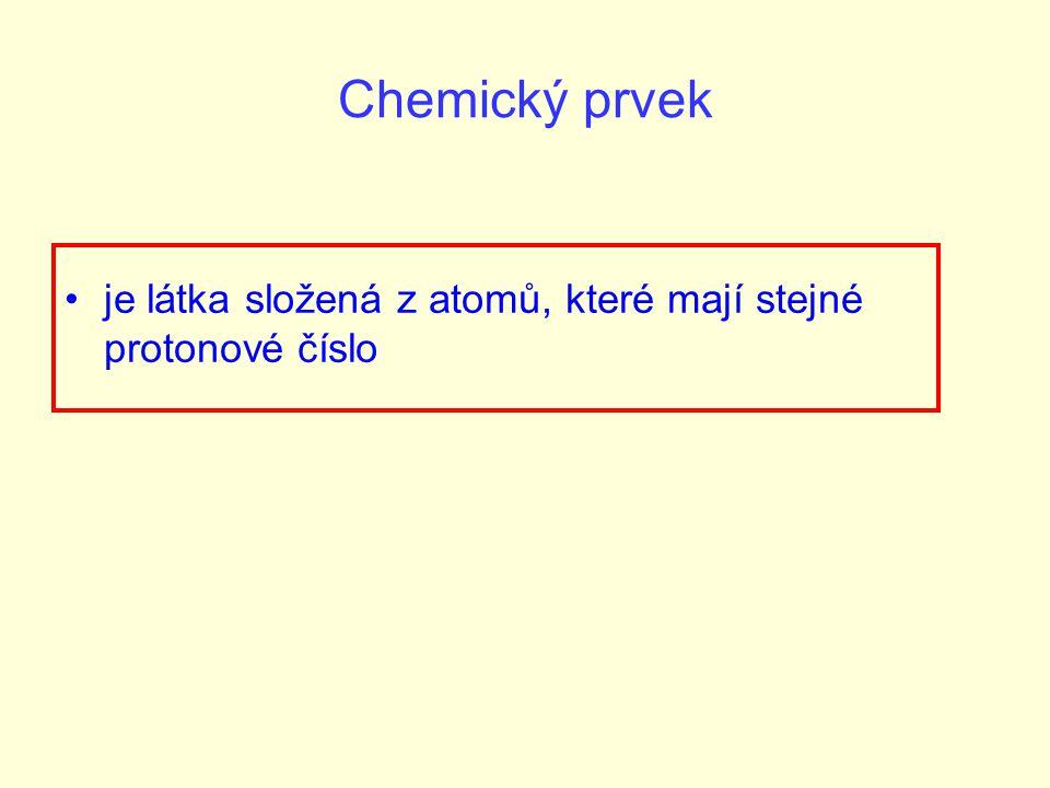 Chemický prvek je látka složená z atomů, které mají stejné protonové číslo