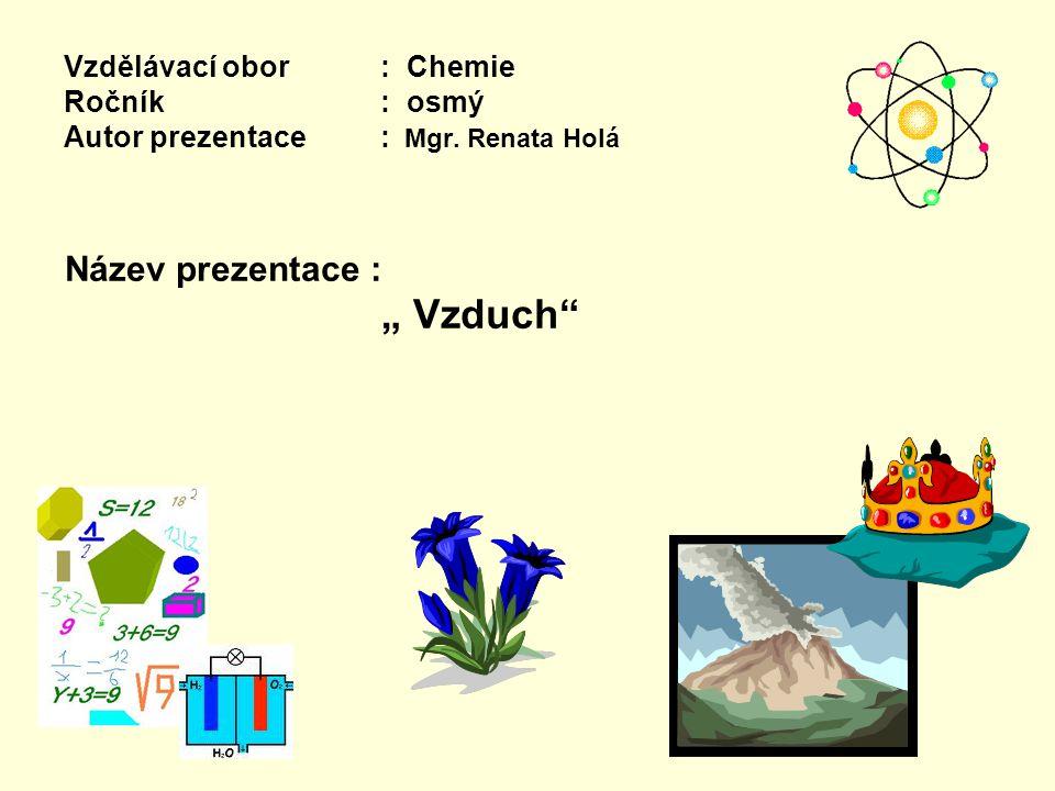 Vzdělávací obor: Chemie Ročník : osmý Autor prezentace: Mgr.