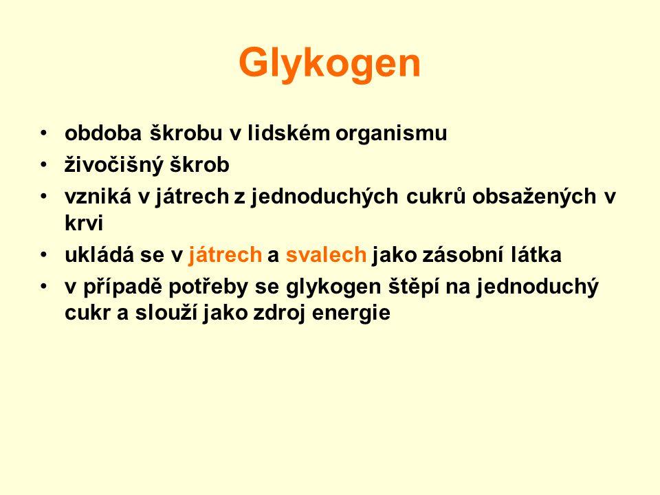Glykogen obdoba škrobu v lidském organismu živočišný škrob vzniká v játrech z jednoduchých cukrů obsažených v krvi ukládá se v játrech a svalech jako zásobní látka v případě potřeby se glykogen štěpí na jednoduchý cukr a slouží jako zdroj energie