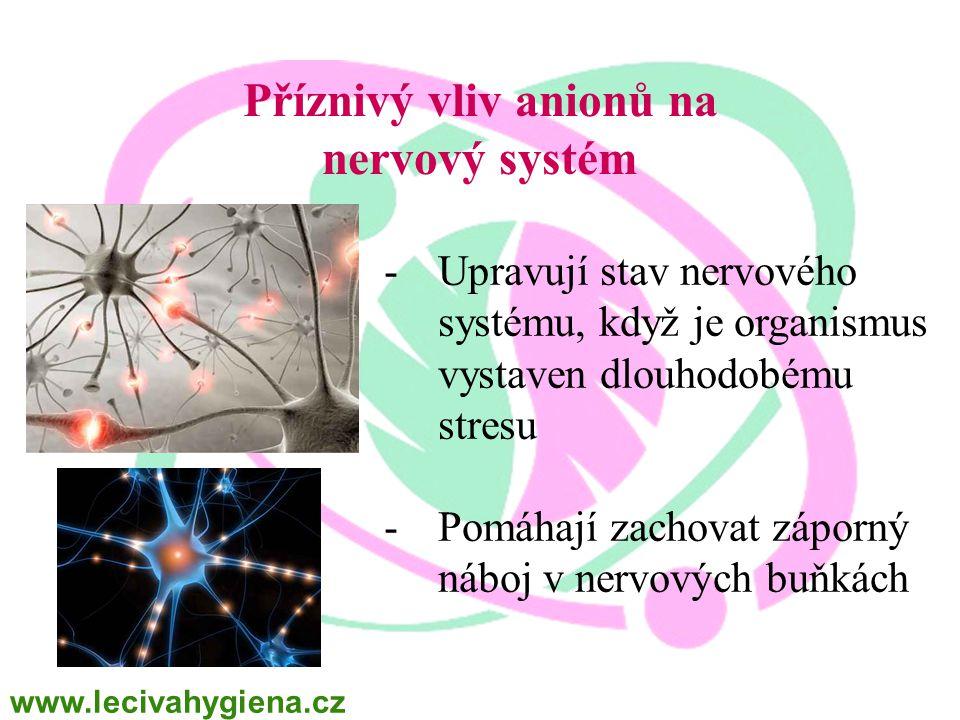 Příznivý vliv anionů na nervový systém -Upravují stav nervového systému, když je organismus vystaven dlouhodobému stresu -Pomáhají zachovat záporný ná