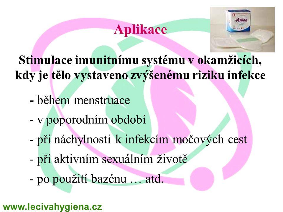 Aplikace - během menstruace - v poporodním období - při náchylnosti k infekcím močových cest - při aktivním sexuálním životě - po použití bazénu … atd.