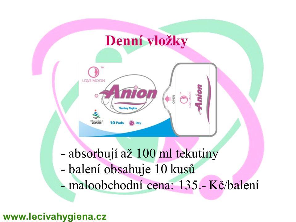 Denní vložky - absorbují až 100 ml tekutiny - balení obsahuje 10 kusů - maloobchodní cena: 135.- Kč / balení www.lecivahygiena.cz