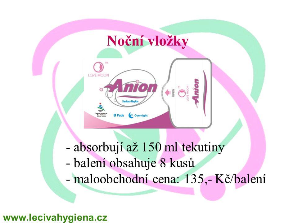 Noční vložky - absorbují až 150 ml tekutiny - balení obsahuje 8 kusů - maloobchodní cena: 135,- Kč/balení www.lecivahygiena.cz