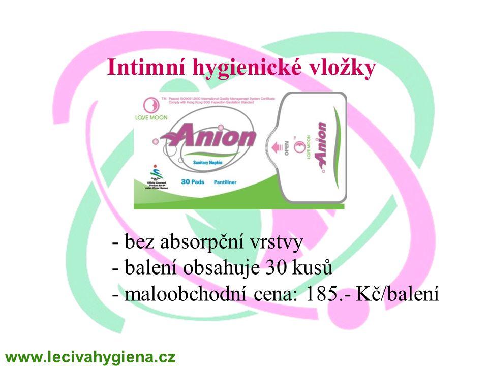Intimní hygienické vložky - bez absorpční vrstvy - balení obsahuje 30 kusů - maloobchodní cena: 185.- Kč/balení www.lecivahygiena.cz