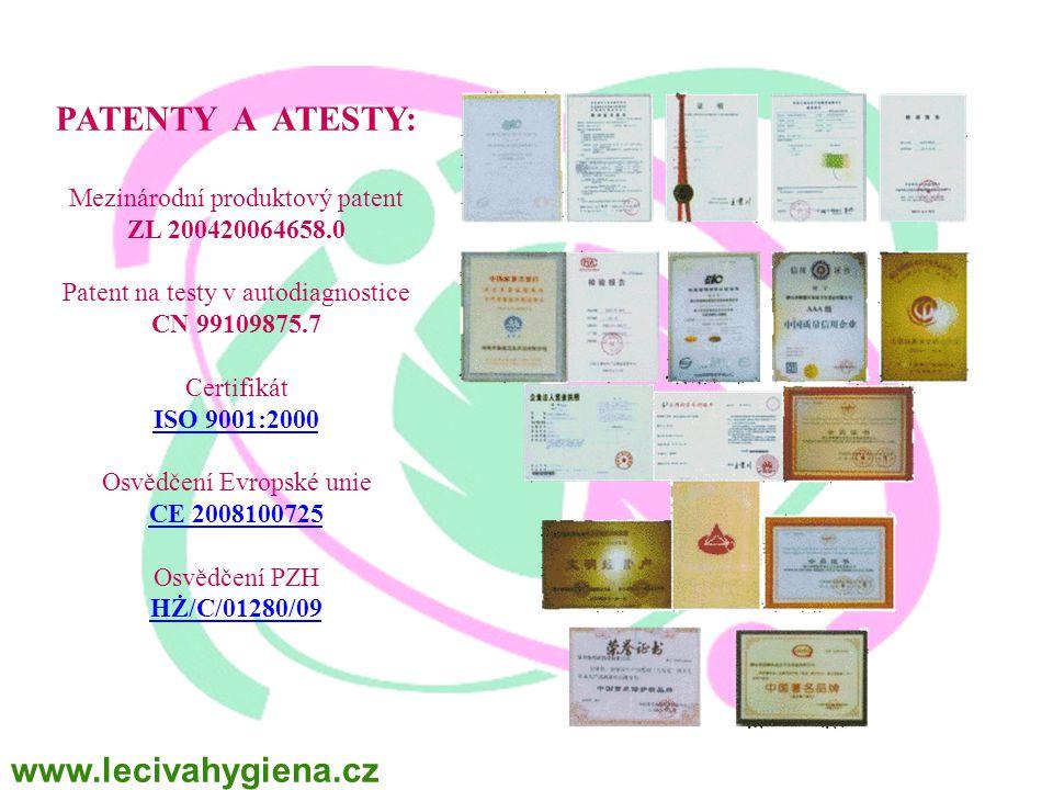 PATENTY A ATESTY: Mezinárodní produktový patent ZL 200420064658.0 Patent na testy v autodiagnostice CN 99109875.7 Certifikát ISO 9001:2000 ISO 9001:2000 Osvědčení Evropské unie CE 2008100725 CE 2008100725 Osvědčení PZH HŻ/C/01280/09 HŻ/C/01280/09 www.lecivahygiena.cz