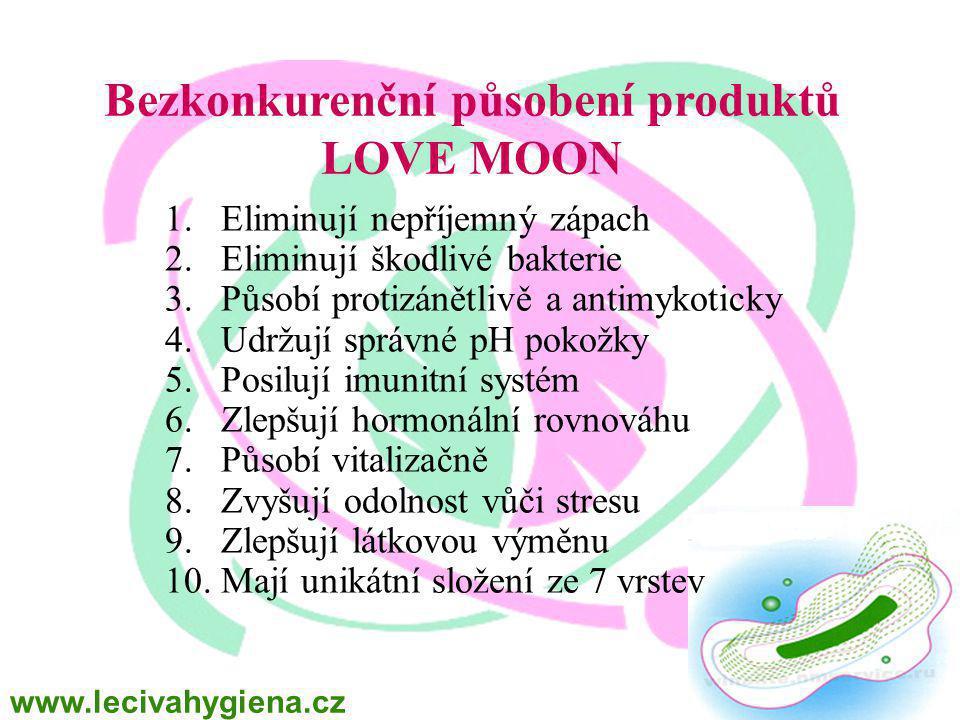 Bezkonkurenční působení produktů LOVE MOON 1.Eliminují nepříjemný zápach 2.Eliminují škodlivé bakterie 3.Působí protizánětlivě a antimykoticky 4.Udržují správné pH pokožky 5.Posilují imunitní systém 6.Zlepšují hormonální rovnováhu 7.Působí vitalizačně 8.Zvyšují odolnost vůči stresu 9.Zlepšují látkovou výměnu 10.Mají unikátní složení ze 7 vrstev www.lecivahygiena.cz