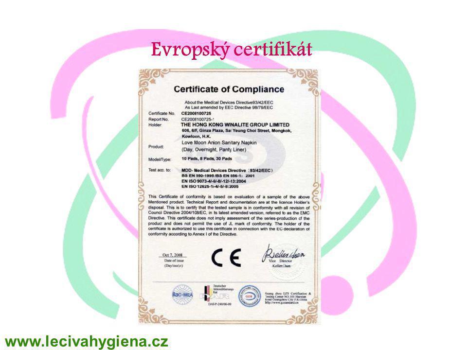 Evropský certifikát www.lecivahygiena.cz