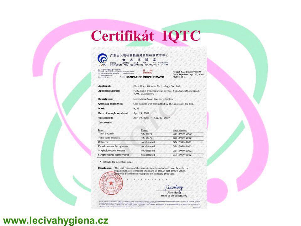 Certifikát IQTC www.lecivahygiena.cz