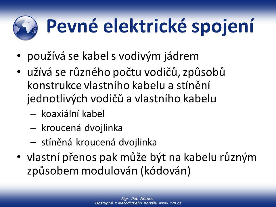 Mgr. Petr Němec Dostupné z Metodického portálu www.rvp.cz Pevné elektrické spojení používá se kabel s vodivým jádrem užívá se různého počtu vodičů, zp