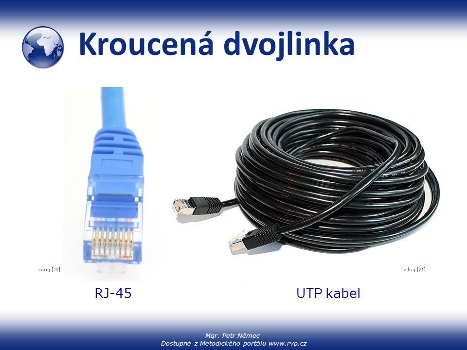 Mgr. Petr Němec Dostupné z Metodického portálu www.rvp.cz Kroucená dvojlinka RJ-45 UTP kabel zdroj [ 20 ] zdroj [22] zdroj [ 21 ]