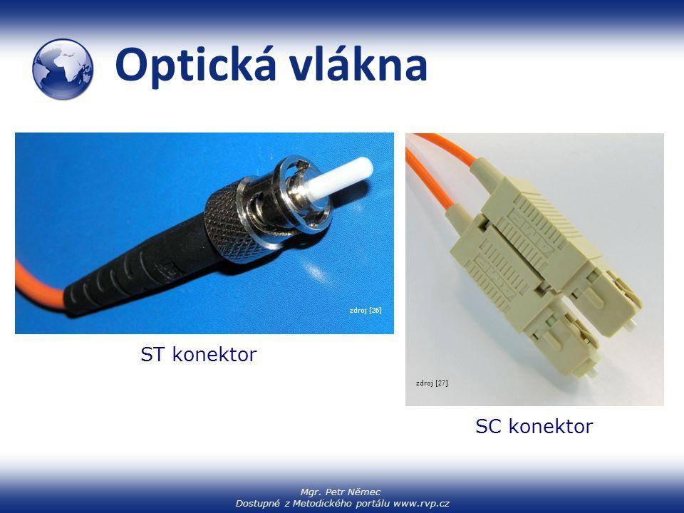 Mgr. Petr Němec Dostupné z Metodického portálu www.rvp.cz Optická vlákna zdroj [ 25 ] zdroj [ 26 ] zdroj [ 27 ] ST konektor SC konektor