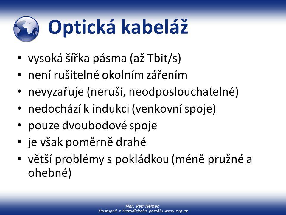 Mgr. Petr Němec Dostupné z Metodického portálu www.rvp.cz Optická kabeláž vysoká šířka pásma (až Tbit/s) není rušitelné okolním zářením nevyzařuje (ne
