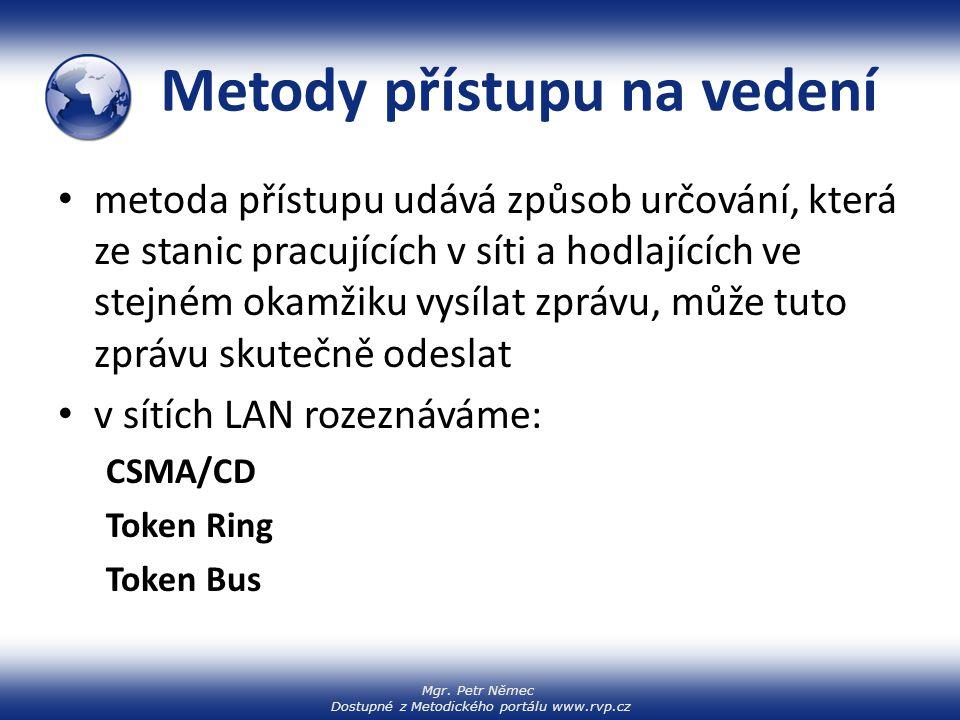 Mgr. Petr Němec Dostupné z Metodického portálu www.rvp.cz Metody přístupu na vedení metoda přístupu udává způsob určování, která ze stanic pracujících