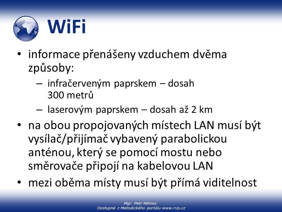 Mgr. Petr Němec Dostupné z Metodického portálu www.rvp.cz WiFi informace přenášeny vzduchem dvěma způsoby: – infračerveným paprskem – dosah 300 metrů
