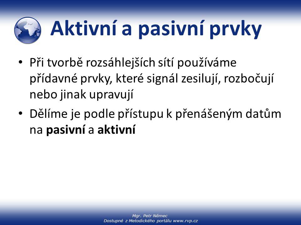 Mgr. Petr Němec Dostupné z Metodického portálu www.rvp.cz Aktivní a pasivní prvky Při tvorbě rozsáhlejších sítí používáme přídavné prvky, které signál