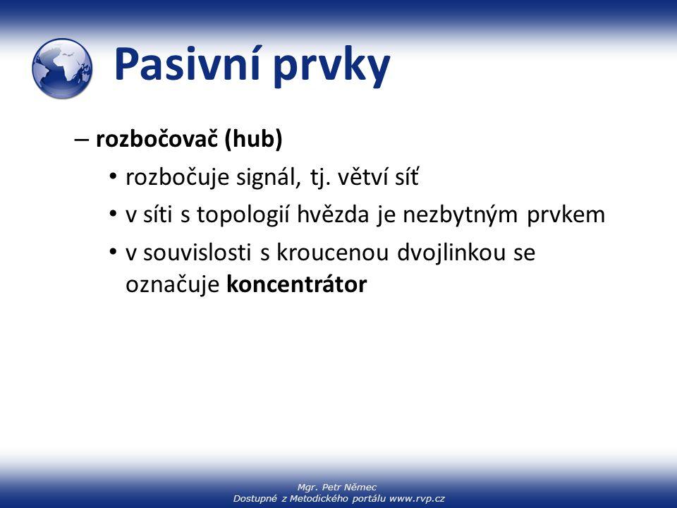 Mgr. Petr Němec Dostupné z Metodického portálu www.rvp.cz Pasivní prvky – rozbočovač (hub) rozbočuje signál, tj. větví síť v síti s topologií hvězda j
