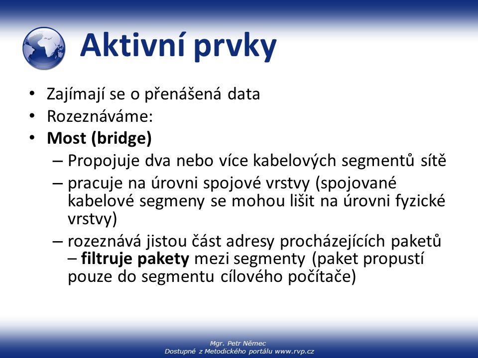 Mgr. Petr Němec Dostupné z Metodického portálu www.rvp.cz Aktivní prvky Zajímají se o přenášená data Rozeznáváme: Most (bridge) – Propojuje dva nebo v