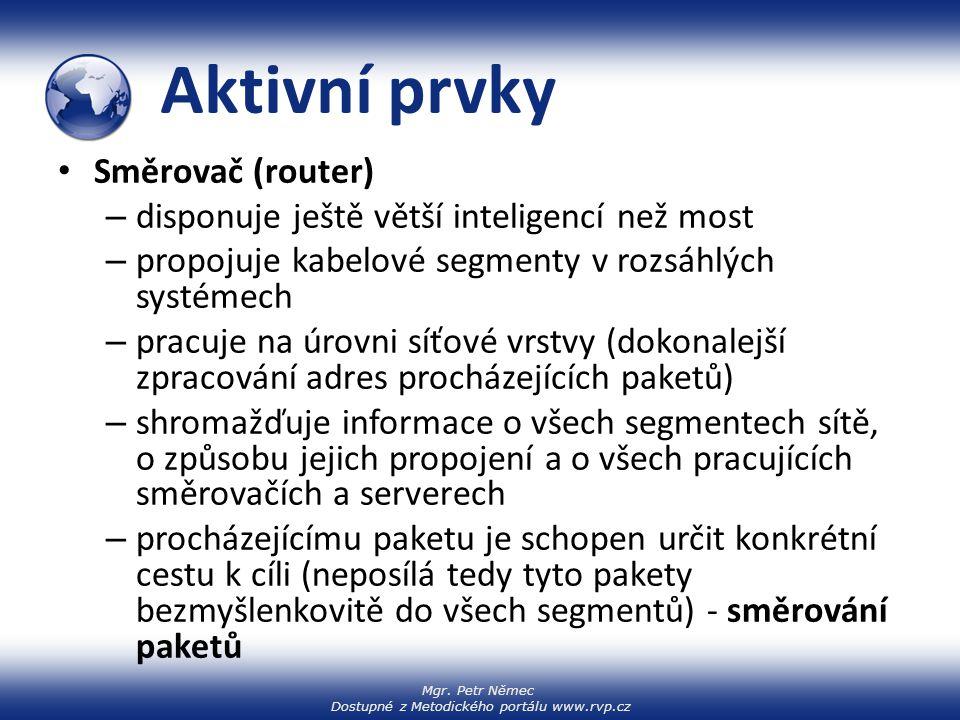 Mgr. Petr Němec Dostupné z Metodického portálu www.rvp.cz Aktivní prvky Směrovač (router) – disponuje ještě větší inteligencí než most – propojuje kab