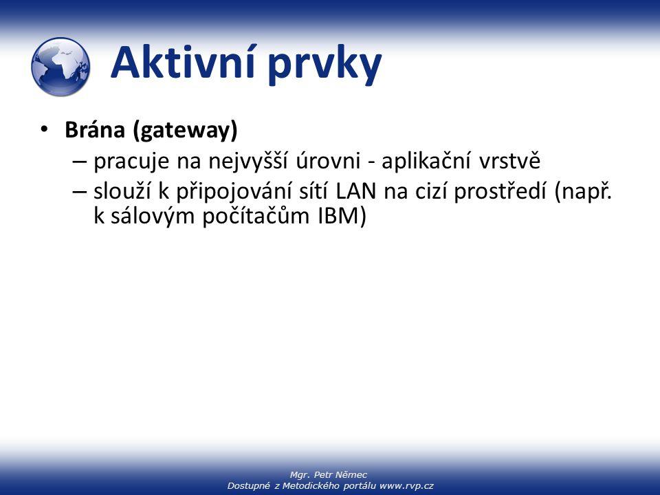 Mgr. Petr Němec Dostupné z Metodického portálu www.rvp.cz Aktivní prvky Brána (gateway) – pracuje na nejvyšší úrovni - aplikační vrstvě – slouží k při