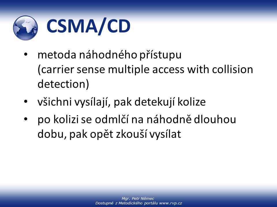 Mgr. Petr Němec Dostupné z Metodického portálu www.rvp.cz CSMA/CD metoda náhodného přístupu (carrier sense multiple access with collision detection) v