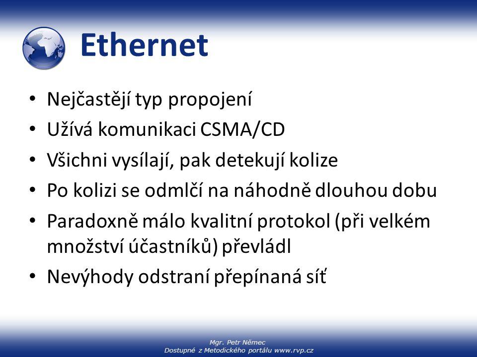 Mgr. Petr Němec Dostupné z Metodického portálu www.rvp.cz Ethernet Nejčastějí typ propojení Užívá komunikaci CSMA/CD Všichni vysílají, pak detekují ko