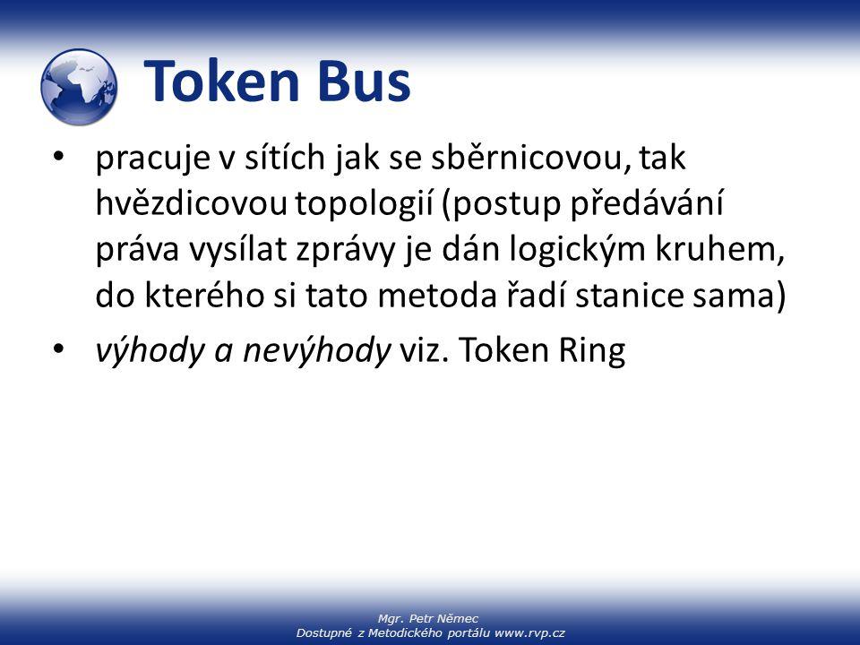 Mgr. Petr Němec Dostupné z Metodického portálu www.rvp.cz Token Bus pracuje v sítích jak se sběrnicovou, tak hvězdicovou topologií (postup předávání p