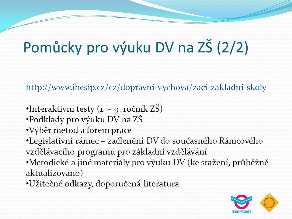 Pomůcky pro výuku DV na ZŠ (2/2) http://www.ibesip.cz/cz/dopravni-vychova/zaci-zakladni-skoly Interaktivní testy (1. – 9. ročník ZŠ) Podklady pro výuk
