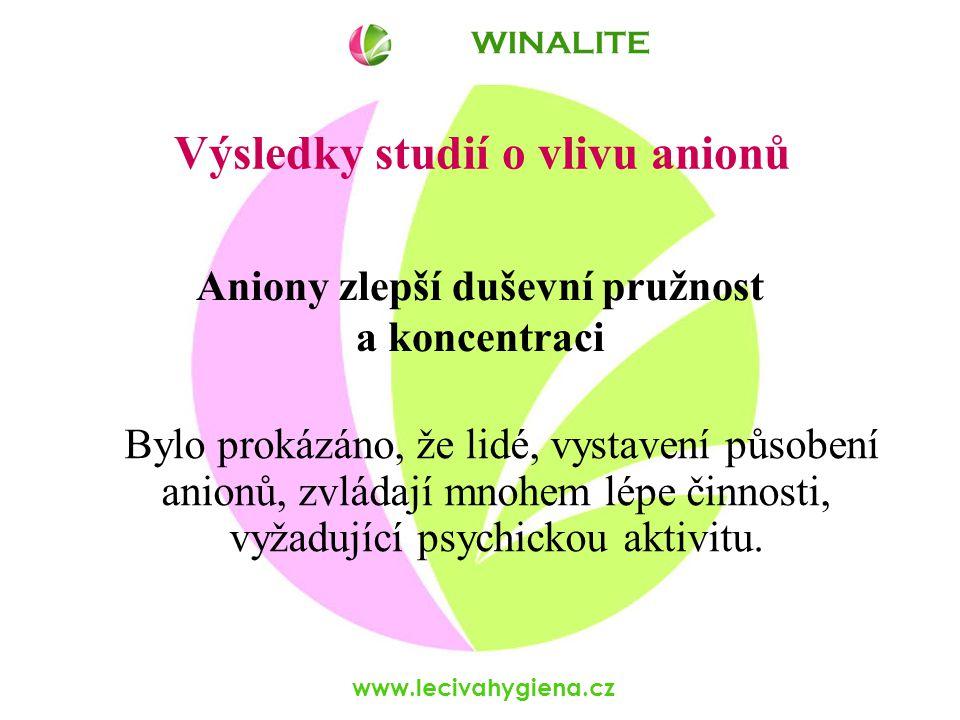 www.lecivahygiena.cz Bylo prokázáno, že lidé, vystavení působení anionů, zvládají mnohem lépe činnosti, vyžadující psychickou aktivitu.