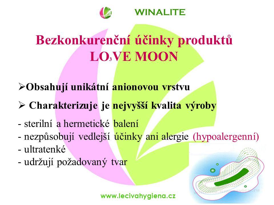 www.lecivahygiena.cz Bezkonkurenční účinky produktů LO 3 VE MOON  Obsahují unikátní anionovou vrstvu  Charakterizuje je nejvyšší kvalita výroby - st