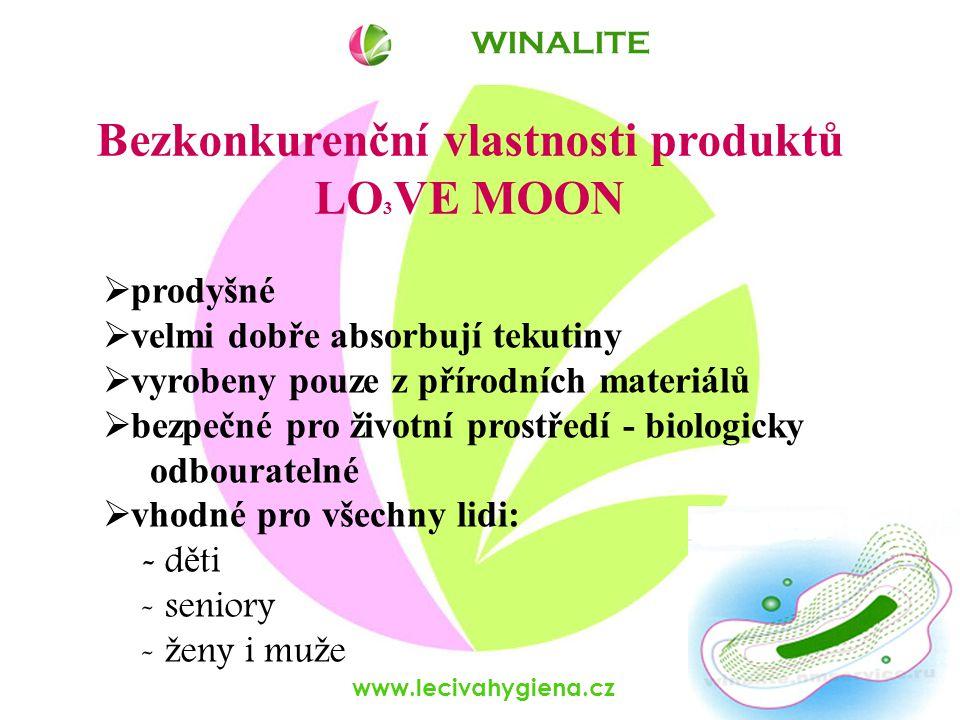 www.lecivahygiena.cz Bezkonkurenční vlastnosti produktů LO 3 VE MOON  prodyšné  velmi dobře absorbují tekutiny  vyrobeny pouze z přírodních materiálů  bezpečné pro životní prostředí - biologicky odbouratelné  vhodné pro všechny lidi: - d ě ti - seniory - ž eny i mu ž e WINALITE