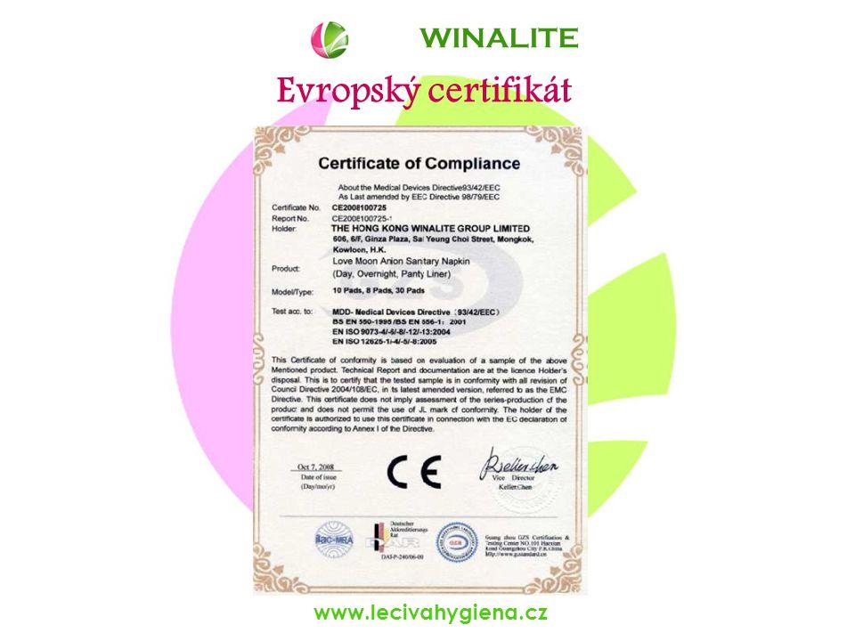 www.lecivahygiena.cz Evropský certifikát WINALITE