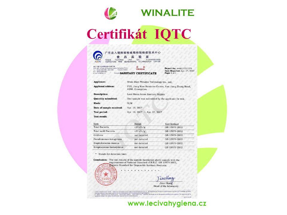 www.lecivahygiena.cz Certifikát IQTC WINALITE