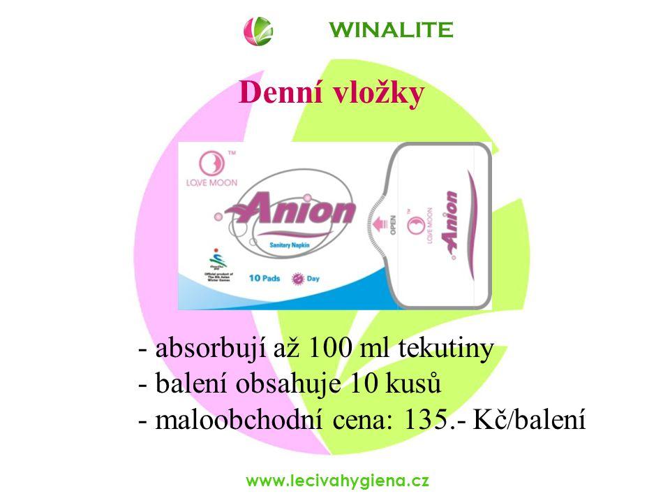www.lecivahygiena.cz Denní vložky - absorbují až 100 ml tekutiny - balení obsahuje 10 kusů - maloobchodní cena: 135.- Kč / balení WINALITE