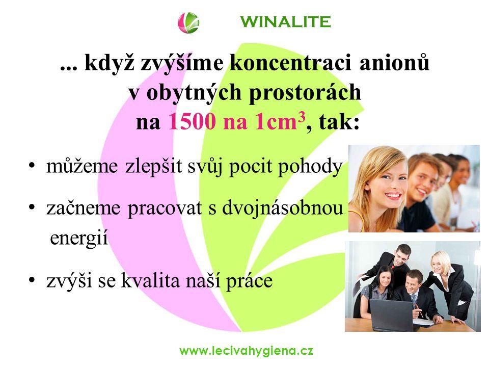www.lecivahygiena.cz... když zvýšíme koncentraci anionů v obytných prostorách na 1500 na 1cm 3, tak: můžeme zlepšit svůj pocit pohody začneme pracovat