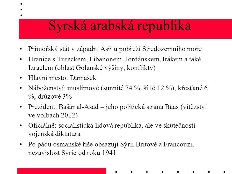 Přímořský stát v západní Asii u pobřeží Středozemního moře Hranice s Tureckem, Libanonem, Jordánskem, Irákem a také Izraelem (oblast Golanské výšiny, konflikty) Hlavní město: Damašek Náboženství: muslimové (sunnité 74 %, šítté 12 %), křesťané 6 %, drúzové 3% Prezident: Bašár al-Asad – jeho politická strana Baas (vítězství ve volbách 2012) Oficiálně: socialistická lidová republika, ale ve skutečnosti vojenská diktatura Po pádu osmanské říše obsazují Sýrii Britové a Francouzi, nezávislost Sýrie od roku 1941