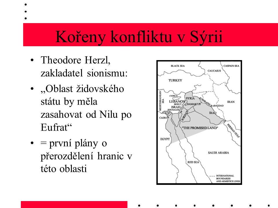 """Kořeny konfliktu v Sýrii Theodore Herzl, zakladatel sionismu: """"Oblast židovského státu by měla zasahovat od Nilu po Eufrat = první plány o přerozdělení hranic v této oblasti"""