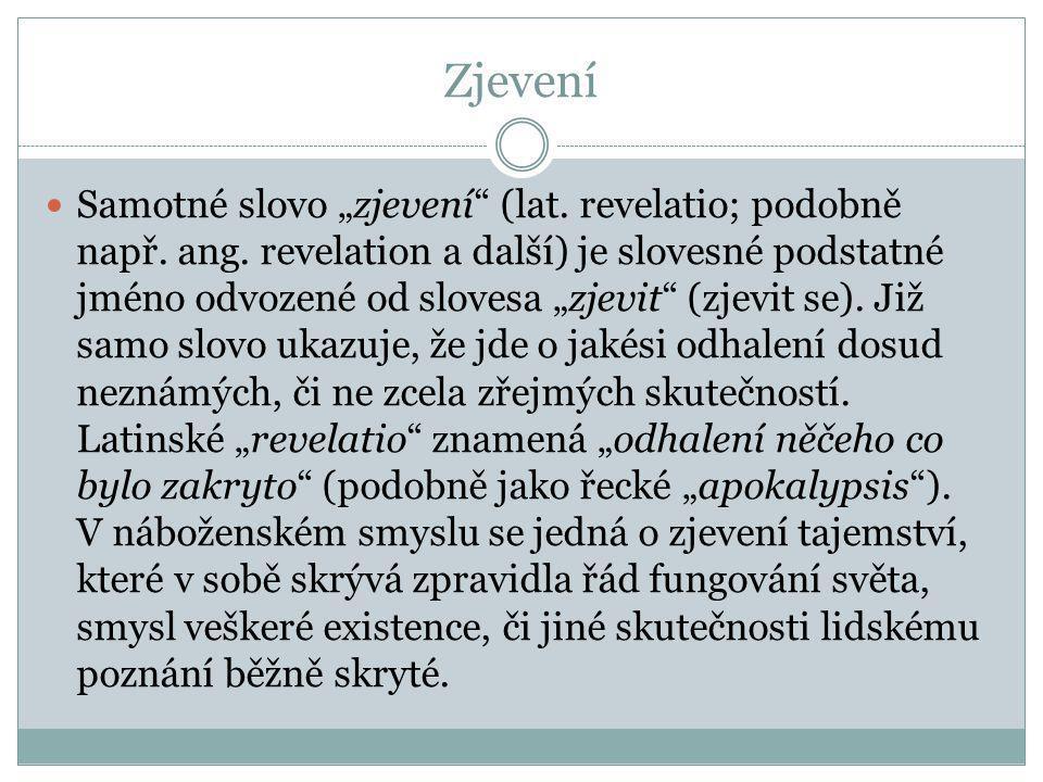 """Zjevení Samotné slovo """"zjevení"""" (lat. revelatio; podobně např. ang. revelation a další) je slovesné podstatné jméno odvozené od slovesa """"zjevit"""" (zjev"""