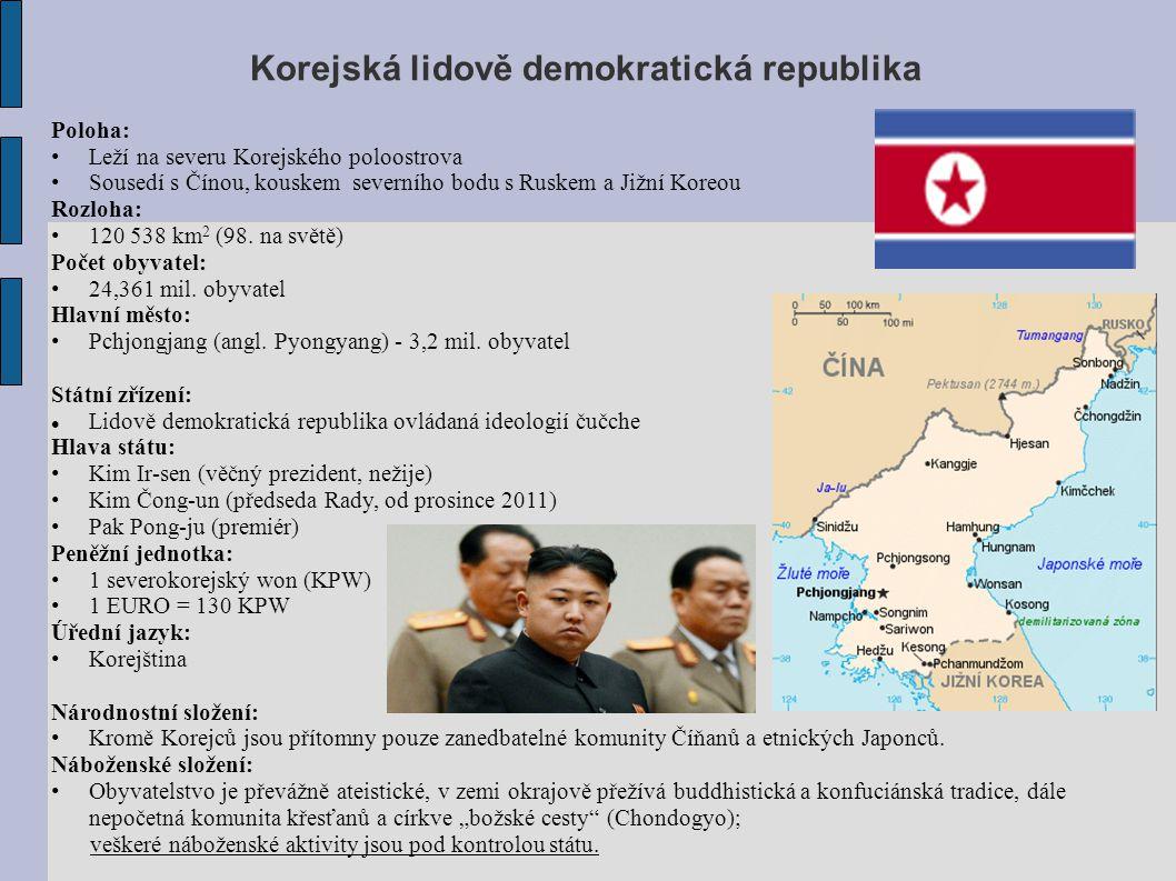 Korejská republika Poloha: Leží na jihu Korejského poloostrova Sousedí se Severní Koreou a přes moře s Japonskem Rozloha: 99 313 km 2 Počet obyvatel: 50,0 mil.