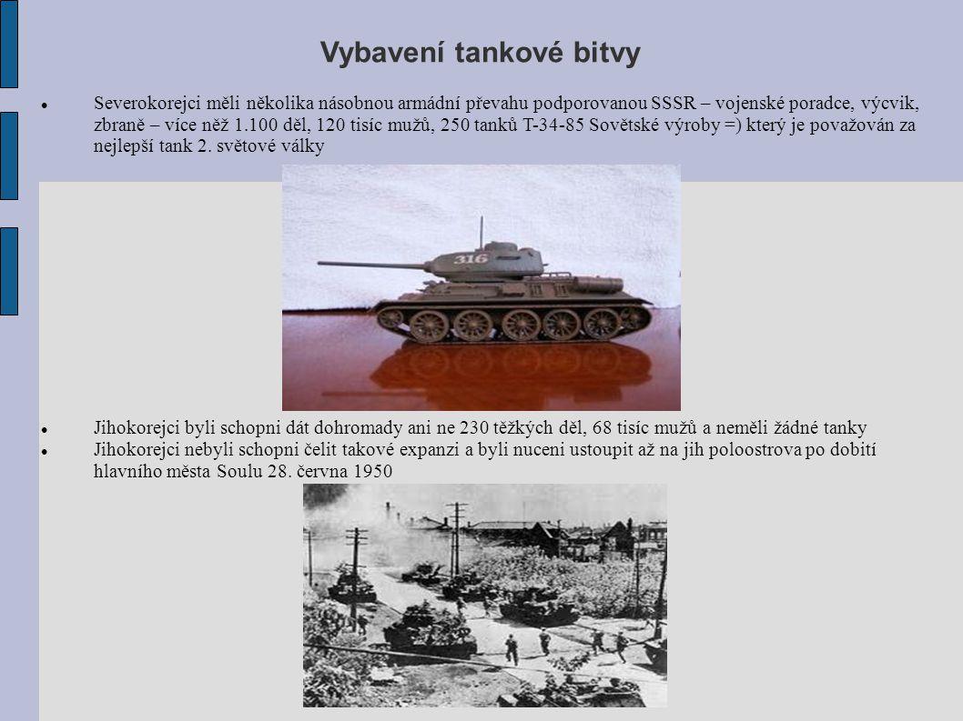 Vybavení tankové bitvy Severokorejci měli několika násobnou armádní převahu podporovanou SSSR – vojenské poradce, výcvik, zbraně – více něž 1.100 děl,