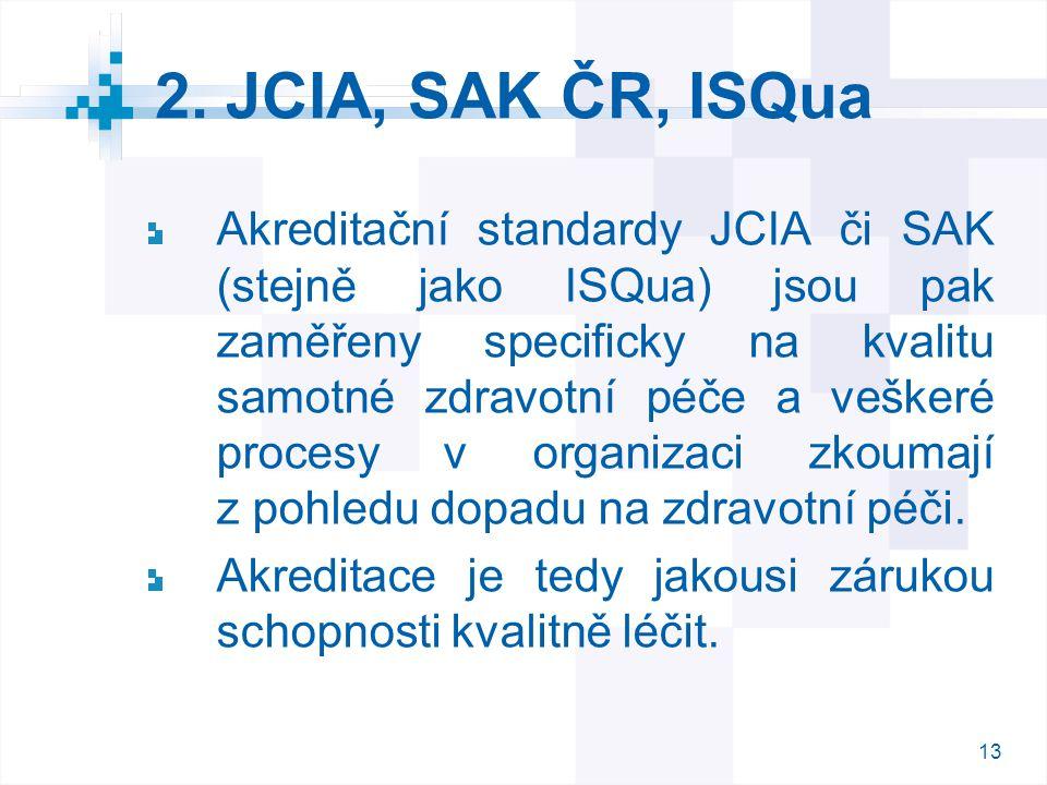 13 2. JCIA, SAK ČR, ISQua Akreditační standardy JCIA či SAK (stejně jako ISQua) jsou pak zaměřeny specificky na kvalitu samotné zdravotní péče a veške
