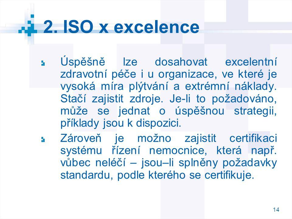 14 2. ISO x excelence Úspěšně lze dosahovat excelentní zdravotní péče i u organizace, ve které je vysoká míra plýtvání a extrémní náklady. Stačí zajis