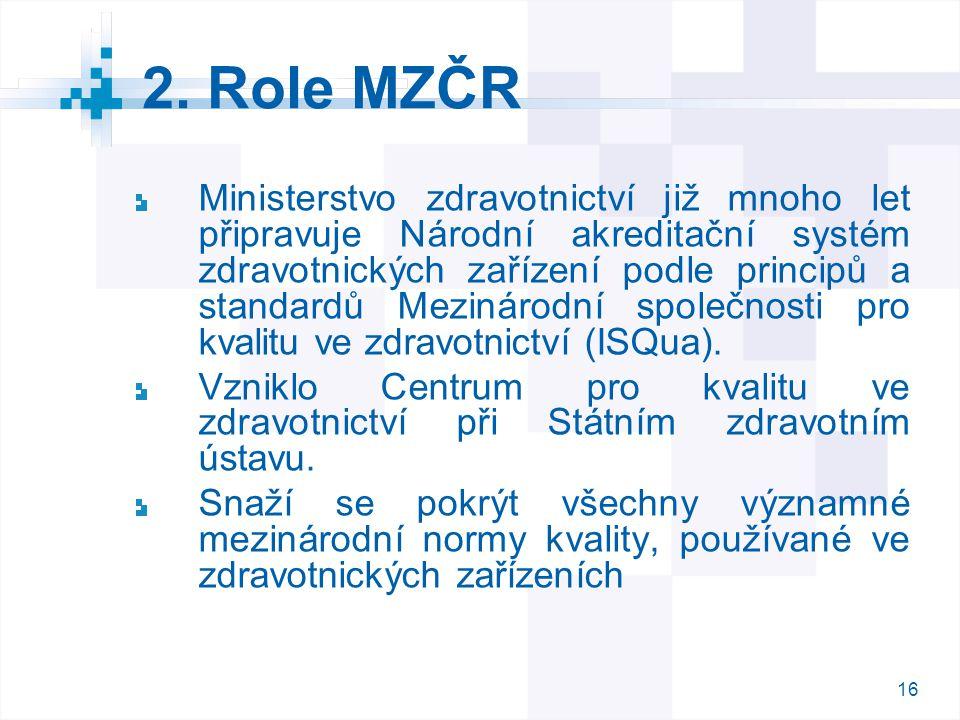 16 2. Role MZČR Ministerstvo zdravotnictví již mnoho let připravuje Národní akreditační systém zdravotnických zařízení podle principů a standardů Mezi