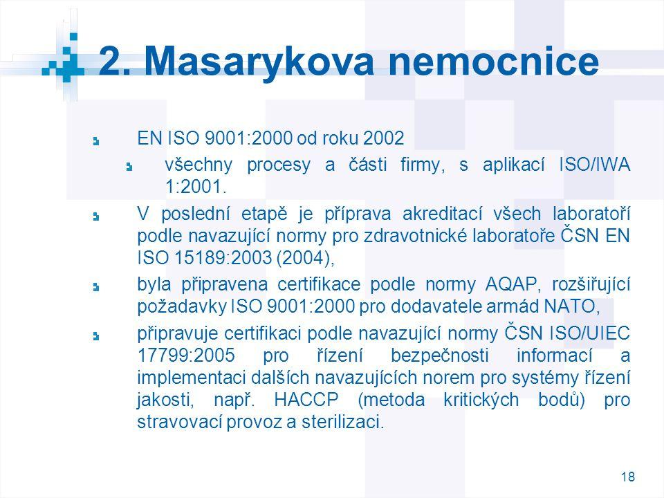 18 2. Masarykova nemocnice EN ISO 9001:2000 od roku 2002 všechny procesy a části firmy, s aplikací ISO/IWA 1:2001. V poslední etapě je příprava akredi