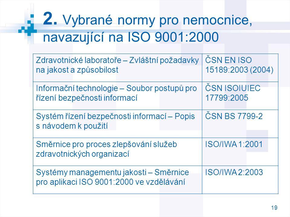19 2. Vybrané normy pro nemocnice, navazující na ISO 9001:2000 Zdravotnické laboratoře – Zvláštní požadavky na jakost a způsobilost ČSN EN ISO 15189:2
